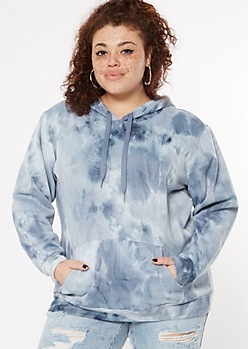 Plus Navy Blue Tie Dye Fleece Hoodie