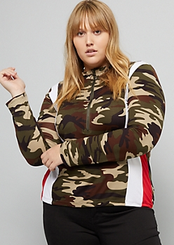 Plus Camo Print Side Striped Ring Zipper Fitted Top