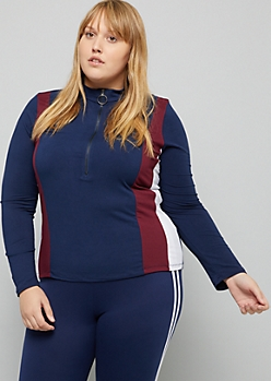 Plus Navy Side Striped Ring Zipper Fitted Top