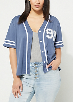 Plus Navy Tomboy Baseball Jersey