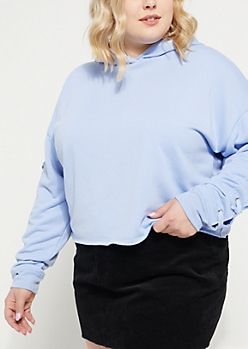 Plus Blue Lace Up Crop Hoodie