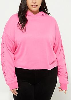 Plus Dark Pink Lace Up Sleeve Crop Hoodie
