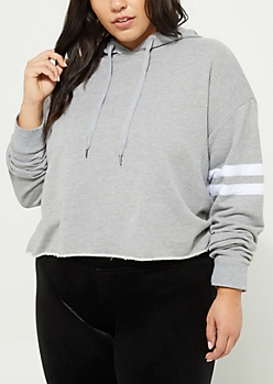 Plus Heather Athletic Crop Hoodie