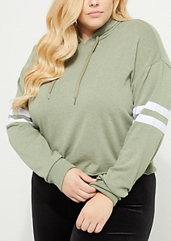 Plus Olive Athletic Crop Hoodie