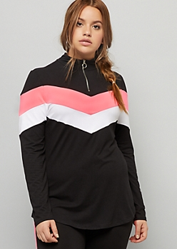 Plus Black Hot Pink Chevron Colorblock Super Soft Pullover