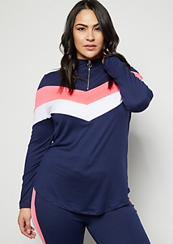 Plus Navy Hot Pink Chevron Colorblock Super Soft Pullover