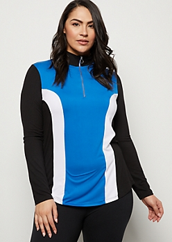 Plus Blue Striped Colorblock Super Soft Top
