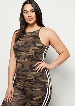 Plus Camo Print High Neck Super Soft Side Striped Tank Top