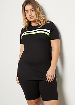 Plus Neon Yellow Striped Super Soft Tee