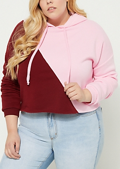 Plus Burgundy Colorblock Crop Hoodie