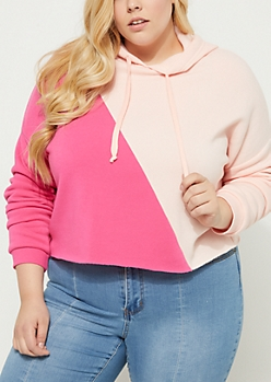 Plus Pink Colorblock Crop Hoodie