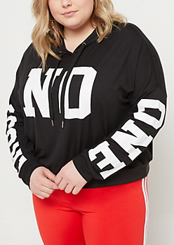 Plus Black Trust No One Super Soft Cropped Hoodie