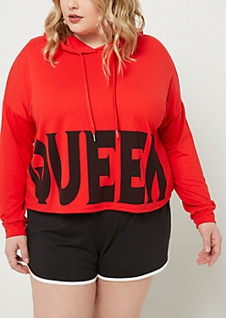 Plus Red Queen Super Soft Cropped Hoodie
