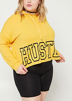Plus Yellow Hustle Super Soft Cropped Hoodie