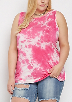 Plus Pink Tie Dye Tank Top