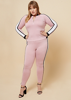 Plus Light Pink Striped Sleeve Quarter Zip Top