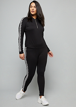 Plus Black Checkered Print Super Soft Half Zip Top