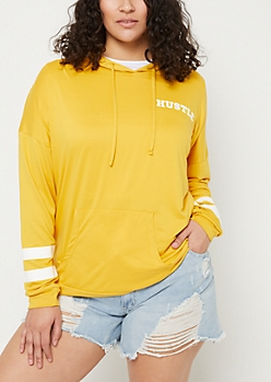 Plus Hustle Dark Yellow Varsity Hoodie
