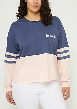 Plus Navy Be Humble Colorblock Skimmer Sweatshirt