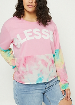 Plus Tie Dye Blessed Colorblock Skimmer Sweatshirt