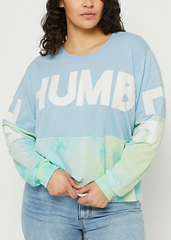 Plus Blue Tie Dye Humble Colorblock Skimmer Sweatshirt