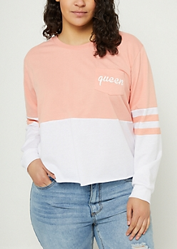 Plus Salmon Queen Colorblock Skimmer Sweatshirt
