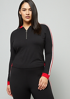 Plus Red Side Striped Super Soft Half Zip Top
