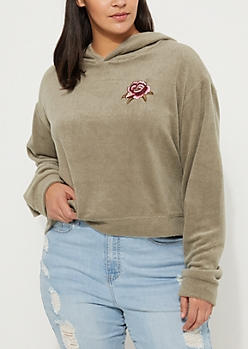Plus Light Olive Rose Embroidered Hacci Crop Hoodie