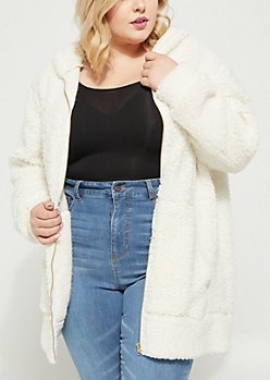 Plus Ivory Oversized Sherpa Zip Up Hoodie