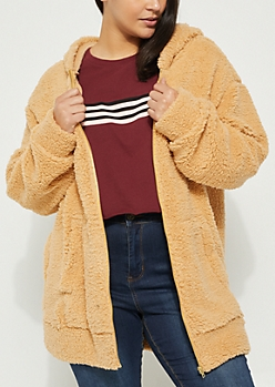 Plus Camel Oversized Sherpa Zip Up Hoodie