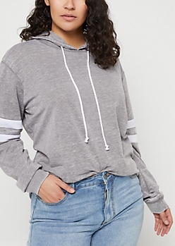 Plus Charcoal Wash Athletic Stripe Hoodie