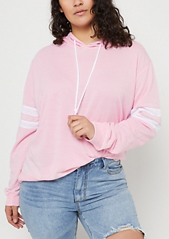 Plus Pink Wash Athletic Stripe Hoodie