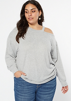 Plus Gray Hacci Asymmetrical Cutout Top