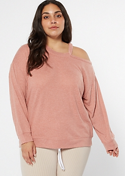 Plus Pink Hacci Asymmetrical Cutout Top
