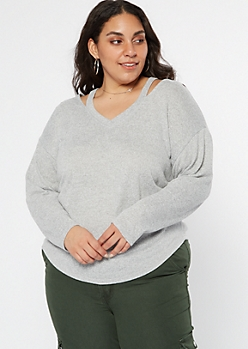 Plus Gray Cutout V Neck Hacci Top