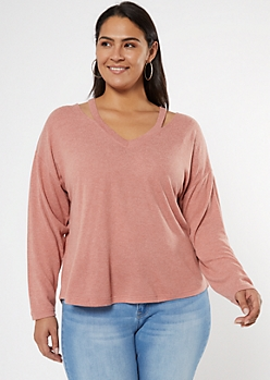 Plus Pink Cutout V Neck Hacci Top