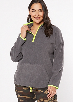 Plus Gray Half Zip Polar Fleece Pullover