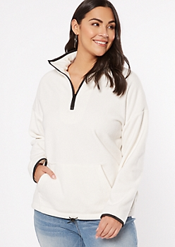 Plus Ivory Half Zip Sweatshirt