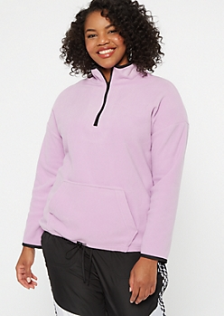 Plus Lavender Half Zip Polar Fleece Pullover