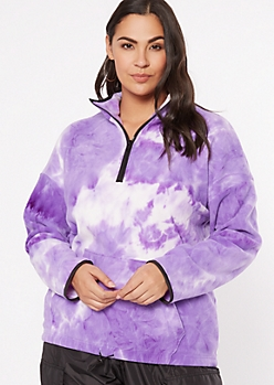 Plus Purple Tie Dye Half Zip Sweatshirt