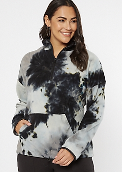 Plus Black Tie Dye Half Zip Fleece Pullover