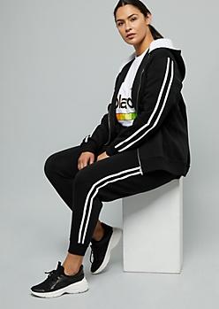 Plus Black Side Striped Sherpa Zip Front Hoodie