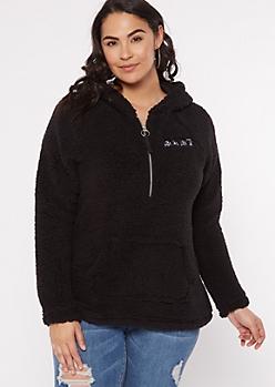 Plus Black Sherpa Babe Half Zip Pullover