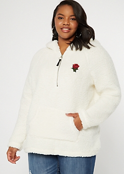 Plus Ivory Sherpa Rose Embroidered Hoodie