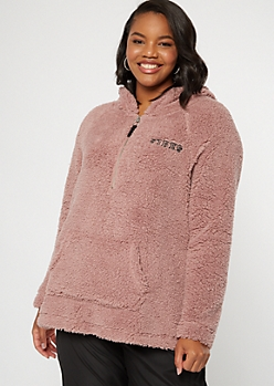 Plus Mauve Sherpa Vibes Embroidered Hoodie