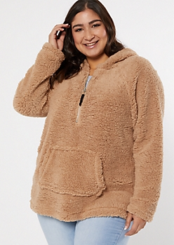 Plus Tan Sherpa Half Zip Pullover