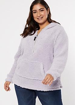 Plus Lavender Sherpa Half Zip Pullover