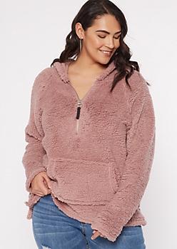 Plus Mauve Sherpa Half Zip Pullover