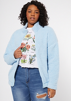 Plus Blue Sherpa Zip Up Sweatshirt