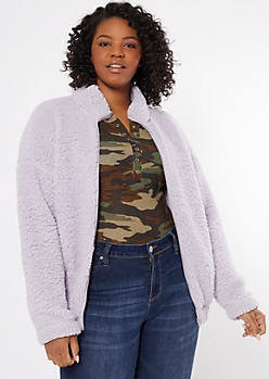 Plus Purple Sherpa Zip Up Sweatshirt
